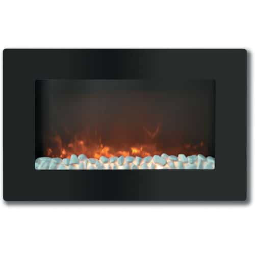 "Cambridge Callisto 30"" Wall-Mount Electronic Fireplace with Flat Panel and Crystal Rocks"