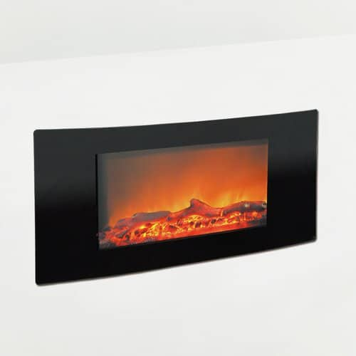 """Cambridge Callisto 35"""" Wall-Mount Electronic Fireplace with Curved Panel and Crystal Rocks 1"""