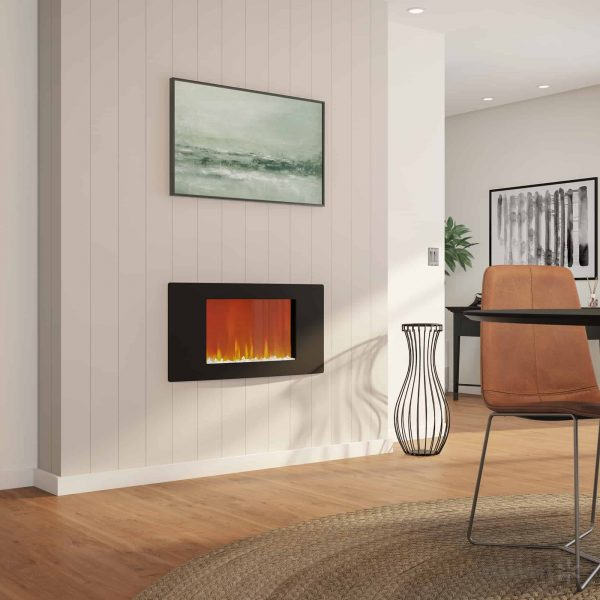 """Cambridge Callisto 35"""" Wall-Mount Electronic Fireplace with Curved Panel and Crystal Rocks 3"""
