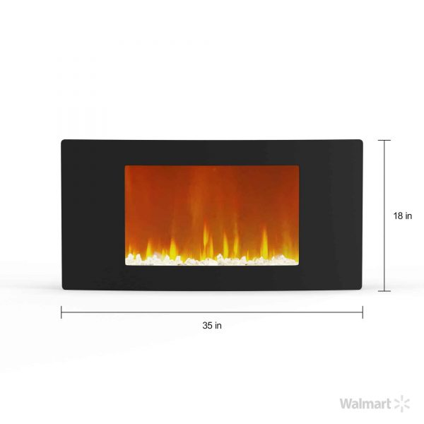 """Cambridge Callisto 35"""" Wall-Mount Electronic Fireplace with Curved Panel and Crystal Rocks 5"""