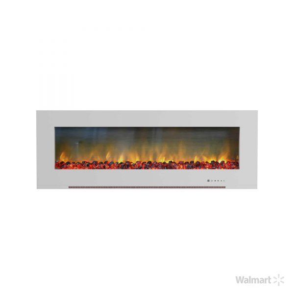 "Cambridge Metropolitan 56"" Wall-Mount Electric Fireplace Heater in White with Charred Log Display 2"