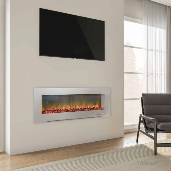 "Cambridge Metropolitan 56"" Wall-Mount Electric Fireplace Heater in White with Charred Log Display 3"