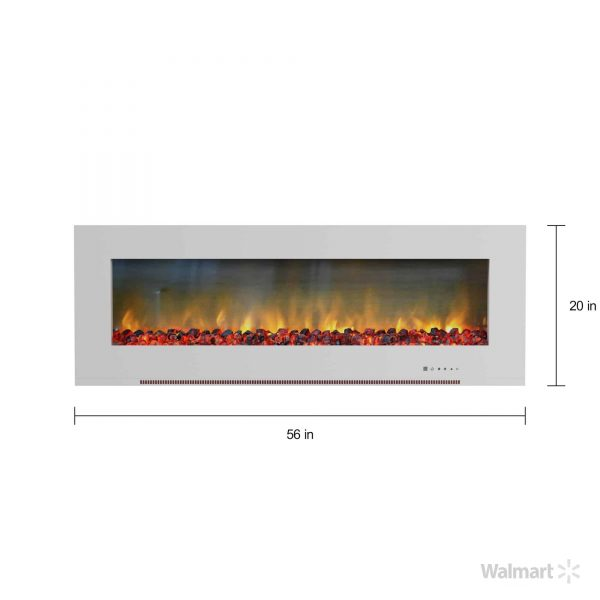"Cambridge Metropolitan 56"" Wall-Mount Electric Fireplace Heater in White with Charred Log Display 4"
