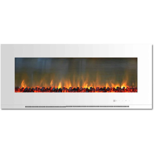 "Cambridge Metropolitan 56"" Wall-Mount Electric Fireplace Heater in White with Charred Log Display"