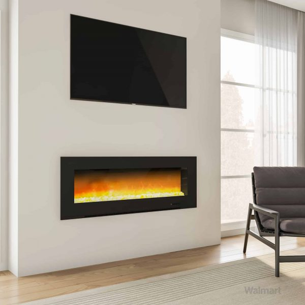 "Cambridge Metropolitan Wall Mount Electric Fireplace Heater, 56"" 4"