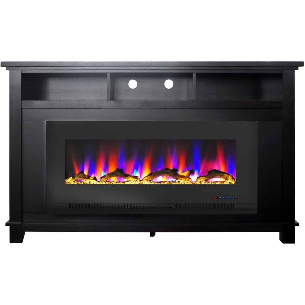 "Cambridge San Jose Fireplace Entertainment Stand in Black with 50"" Color-Changing Fireplace Insert and Driftwood Log Display 2"