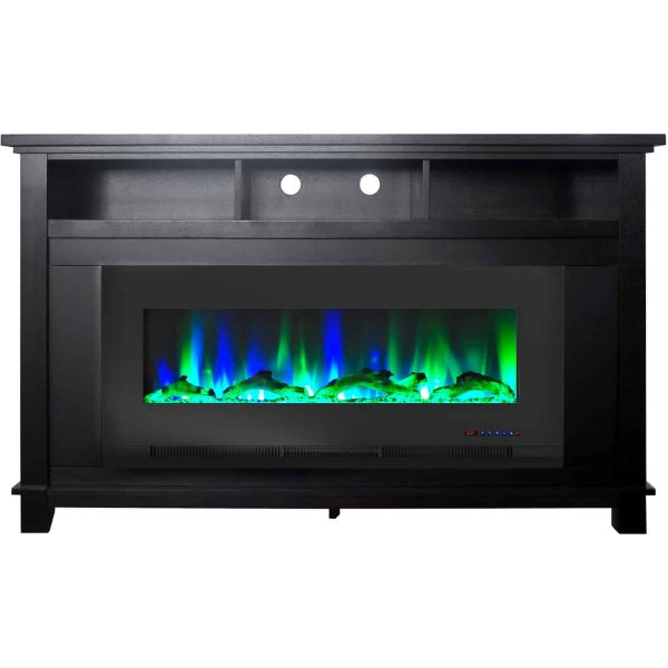 "Cambridge San Jose Fireplace Entertainment Stand in Black with 50"" Color-Changing Fireplace Insert and Driftwood Log Display 3"