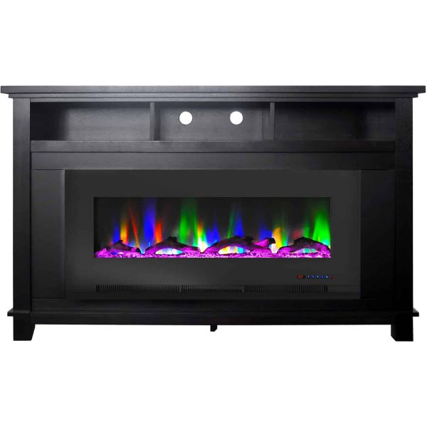 "Cambridge San Jose Fireplace Entertainment Stand in Black with 50"" Color-Changing Fireplace Insert and Driftwood Log Display 4"