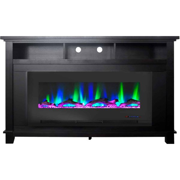 "Cambridge San Jose Fireplace Entertainment Stand in Black with 50"" Color-Changing Fireplace Insert and Driftwood Log Display 5"