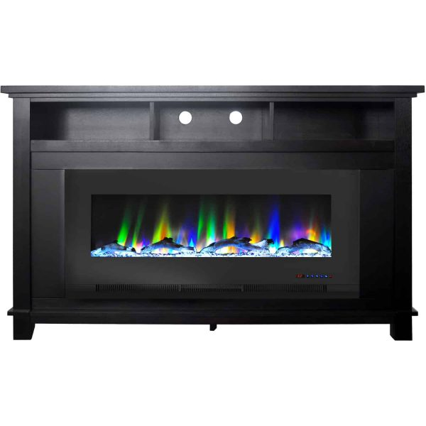 "Cambridge San Jose Fireplace Entertainment Stand in Black with 50"" Color-Changing Fireplace Insert and Driftwood Log Display"