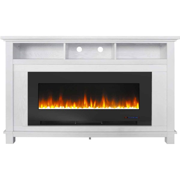 "Cambridge San Jose Fireplace Entertainment Stand in White with 50"" Color-Changing Fireplace Insert and Crystal Rock Display 2"