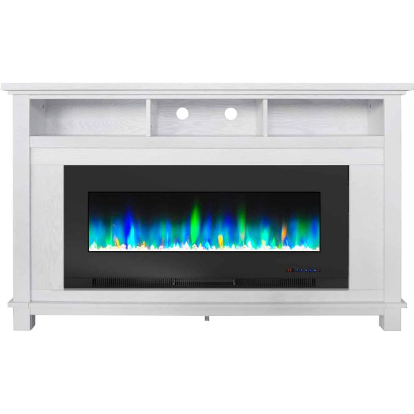 "Cambridge San Jose Fireplace Entertainment Stand in White with 50"" Color-Changing Fireplace Insert and Crystal Rock Display 3"