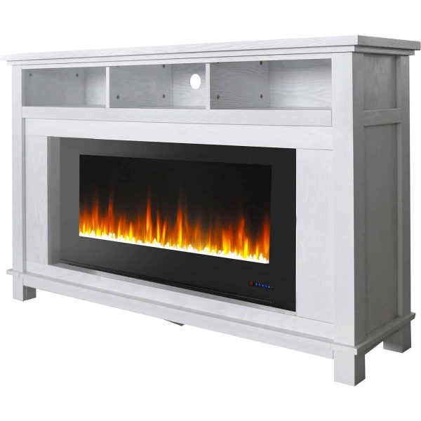 "Cambridge San Jose Fireplace Entertainment Stand in White with 50"" Color-Changing Fireplace Insert and Crystal Rock Display 4"