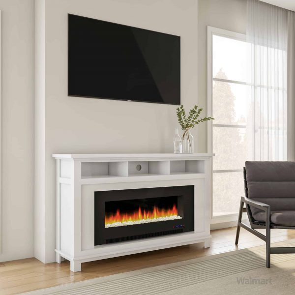 "Cambridge San Jose Fireplace Entertainment Stand in White with 50"" Color-Changing Fireplace Insert and Crystal Rock Display 6"