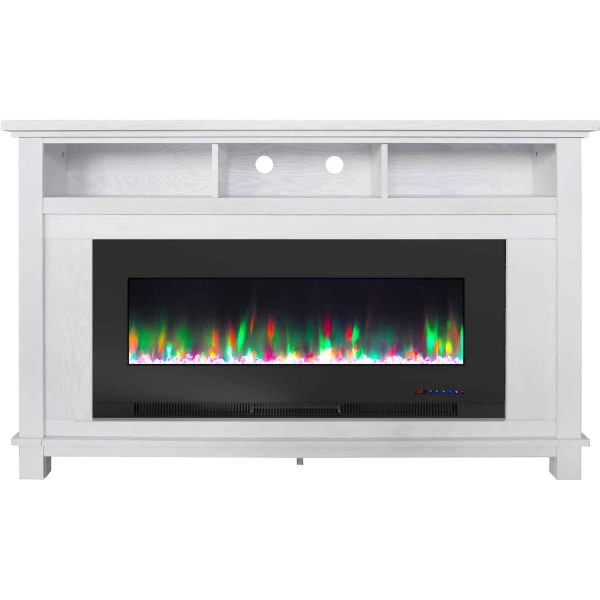 "Cambridge San Jose Fireplace Entertainment Stand in White with 50"" Color-Changing Fireplace Insert and Crystal Rock Display"