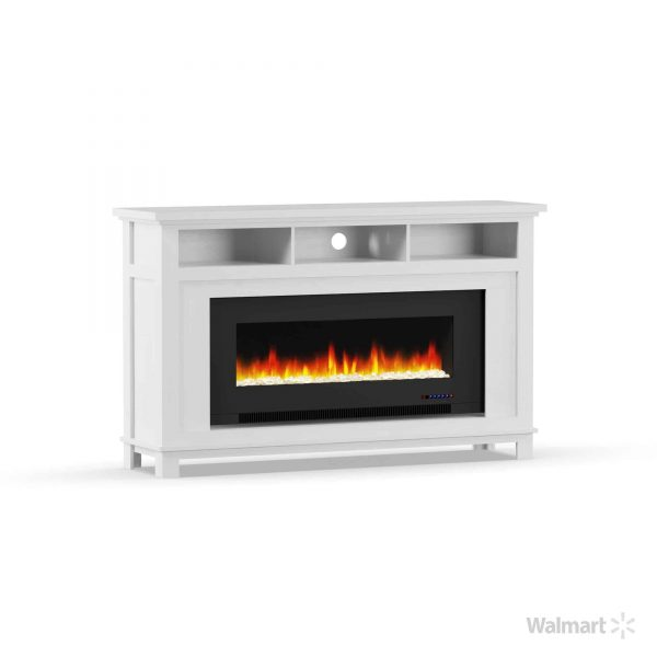 "Cambridge San Jose Fireplace Entertainment Stand in White with 50"" Color-Changing Fireplace Insert and Crystal Rock Display 7"
