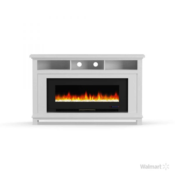 "Cambridge San Jose Fireplace Entertainment Stand in White with 50"" Color-Changing Fireplace Insert and Crystal Rock Display 8"