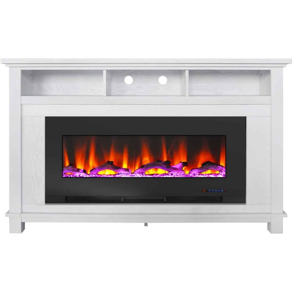 """Cambridge San Jose Fireplace Entertainment Stand in White with 50"""" Color-Changing Fireplace Insert and Driftwood Log Display 2"""