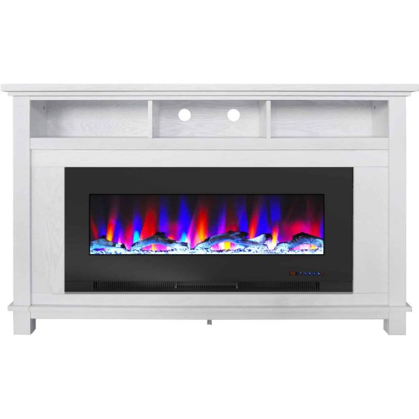 """Cambridge San Jose Fireplace Entertainment Stand in White with 50"""" Color-Changing Fireplace Insert and Driftwood Log Display 3"""