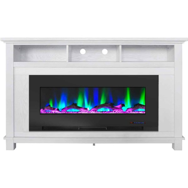 """Cambridge San Jose Fireplace Entertainment Stand in White with 50"""" Color-Changing Fireplace Insert and Driftwood Log Display 4"""