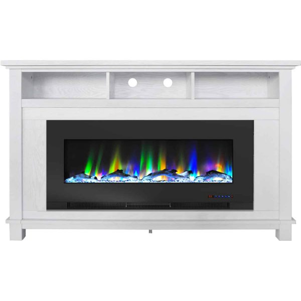 """Cambridge San Jose Fireplace Entertainment Stand in White with 50"""" Color-Changing Fireplace Insert and Driftwood Log Display"""
