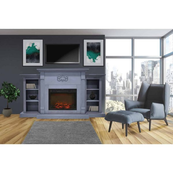 Cambridge Sanoma 72 In. Electric Fireplace in Slate Blue with Built-in Bookshelves and a 1500W Charred Log Insert 5