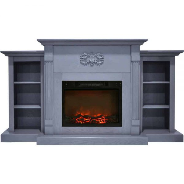 Cambridge Sanoma 72 In. Electric Fireplace in Slate Blue with Built-in Bookshelves and a 1500W Charred Log Insert