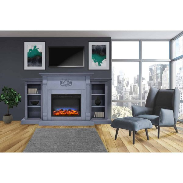 Cambridge Sanoma 72 In. Electric Fireplace in Slate Blue with Built-in Bookshelves and a Multi-Color LED Flame Display 1