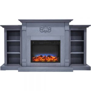 Cambridge Sanoma 72 In. Electric Fireplace in Slate Blue with Built-in Bookshelves and a Multi-Color LED Flame Display
