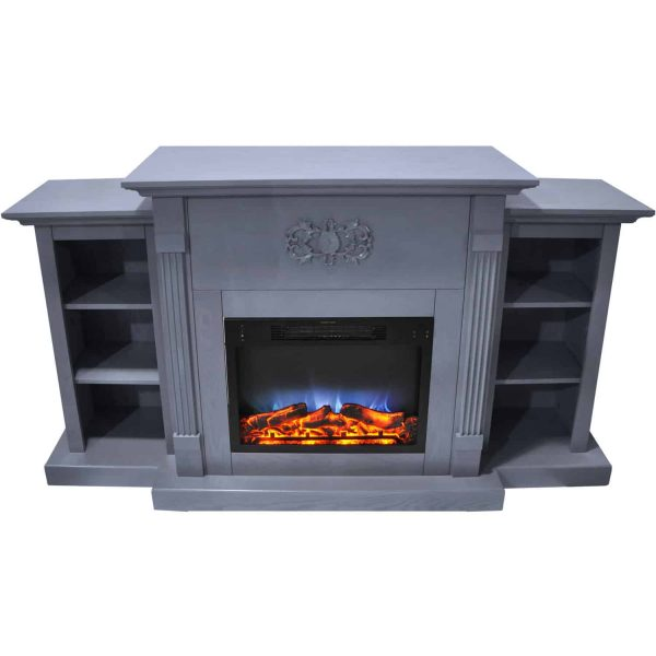 Cambridge Sanoma 72 In. Electric Fireplace in Slate Blue with Built-in Bookshelves and a Multi-Color LED Flame Display 6