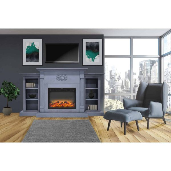 Cambridge Sanoma 72 In. Electric Fireplace in Slate Blue with Built-in Bookshelves and an Enhanced Log Display 1