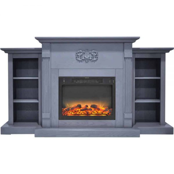 Cambridge Sanoma 72 In. Electric Fireplace in Slate Blue with Built-in Bookshelves and an Enhanced Log Display