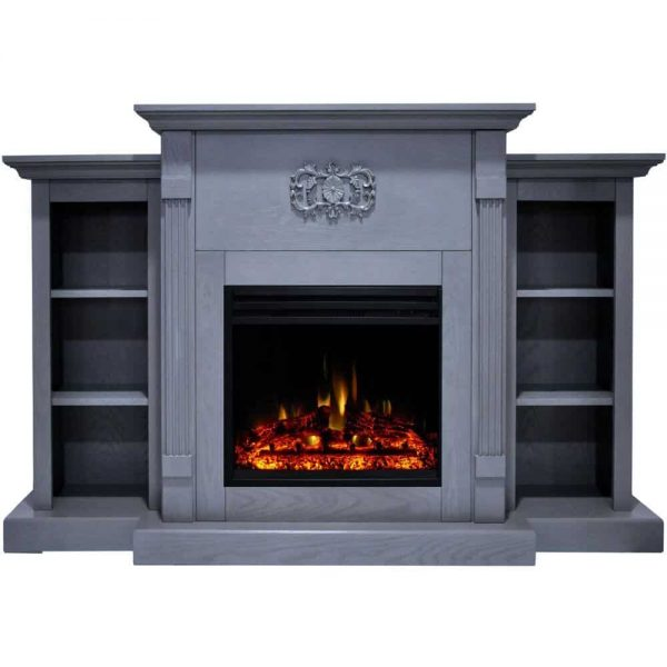 Cambridge Sanoma Electric Fireplace Heater with 72-In. Blue Mantel