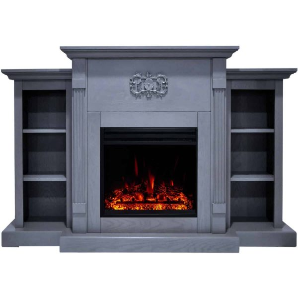 Cambridge Sanoma Electric Fireplace Heater with 72-In. Blue Mantel, Bookshelves, Enhanced Log Display, Multi-Color Flames, and Remote 4