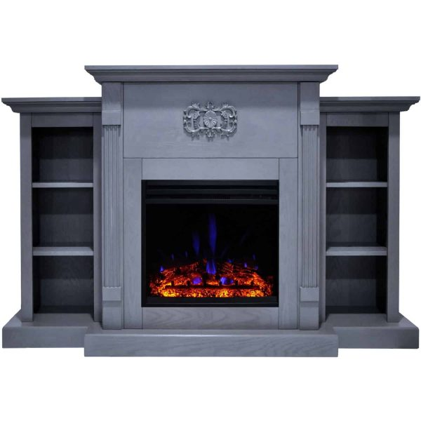 Cambridge Sanoma Electric Fireplace Heater with 72-In. Blue Mantel, Bookshelves, Enhanced Log Display, Multi-Color Flames, and Remote 5