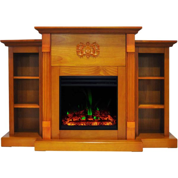 Cambridge Sanoma Electric Fireplace Heater with 72-In. Teak Mantel, Bookshelves, Enhanced Multi-Color Log Display, and Remote 1