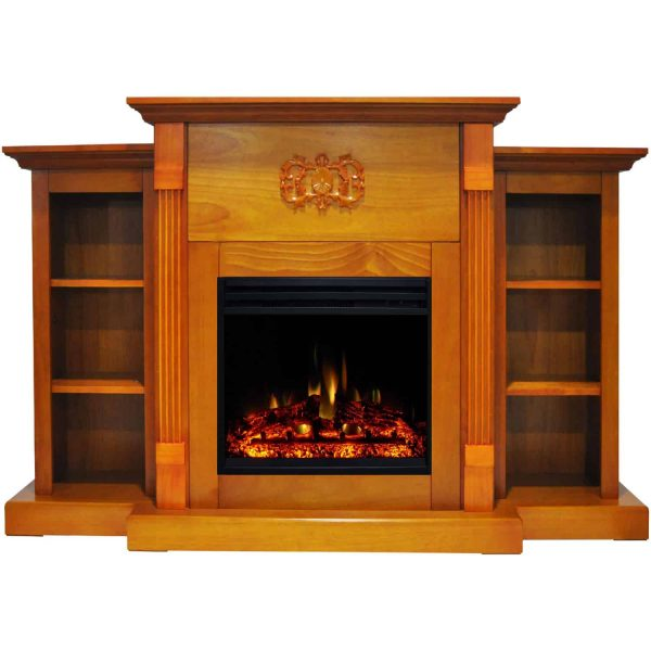 Cambridge Sanoma Electric Fireplace Heater with 72-In. Teak Mantel