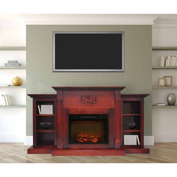 "Cambridge Sanoma Electric Fireplace Heater with 72"" Bookshelf Mantel and Charred Log Display 2"
