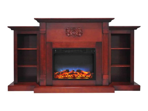 """Cambridge Sanoma Electric Fireplace Heater with 72"""" Bookshelf Mantel and Multi-Color LED Flame Display 2"""