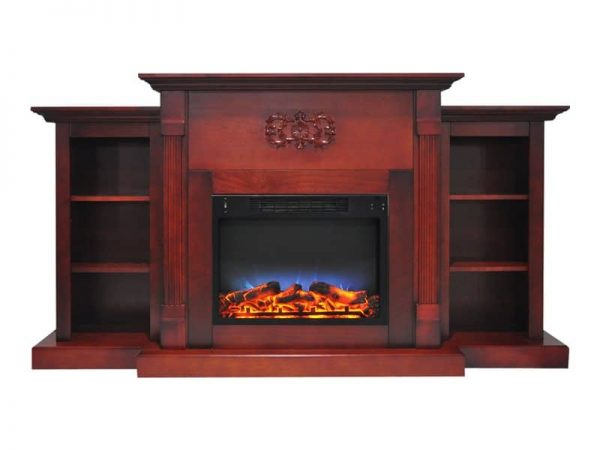 """Cambridge Sanoma Electric Fireplace Heater with 72"""" Bookshelf Mantel and Multi-Color LED Flame Display 3"""