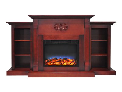 """Cambridge Sanoma Electric Fireplace Heater with 72"""" Bookshelf Mantel and Multi-Color LED Flame Display 4"""