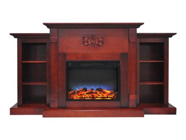 """Cambridge Sanoma Electric Fireplace Heater with 72"""" Bookshelf Mantel and Multi-Color LED Flame Display 6"""