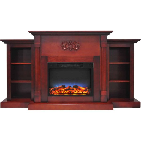 """Cambridge Sanoma Electric Fireplace Heater with 72"""" Bookshelf Mantel and Multi-Color LED Flame Display 7"""