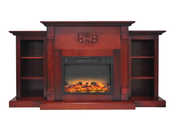 "Cambridge Sanoma Electric Fireplace Heater with 72"" Bookshelf Mantel plus Enhanced Log and Grate Display 1"