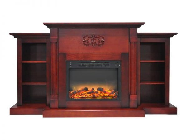 "Cambridge Sanoma Electric Fireplace Heater with 72"" Bookshelf Mantel plus Enhanced Log and Grate Display 2"