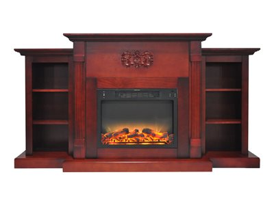 "Cambridge Sanoma Electric Fireplace Heater with 72"" Bookshelf Mantel plus Enhanced Log and Grate Display 3"