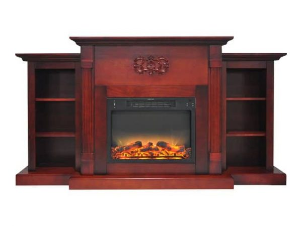 "Cambridge Sanoma Electric Fireplace Heater with 72"" Bookshelf Mantel plus Enhanced Log and Grate Display 4"