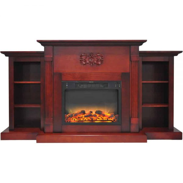 "Cambridge Sanoma Electric Fireplace Heater with 72"" Bookshelf Mantel plus Enhanced Log and Grate Display 7"