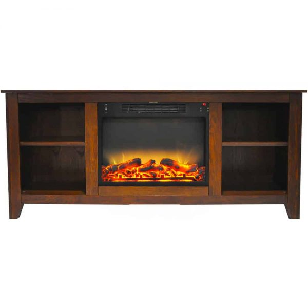 "Cambridge Santa Monica Electric Fireplace Heater with 63"" Entertainment Stand plus Enhanced Log and Grate Display 1"
