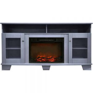 Cambridge Savona 59 In. Electric Fireplace in Slate Blue with Entertainment Stand and Charred Log Display
